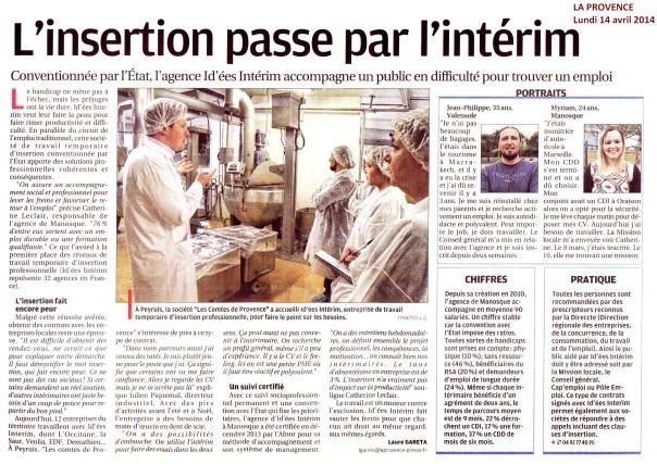 Article paru dans le journal La Provence du 14 avril 2014.