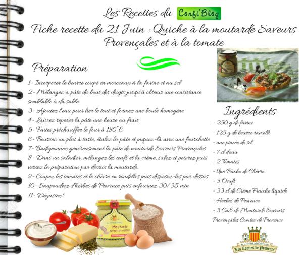 Fiche recette du 21 Juin - Quiche à la moutarde saveurs Provençales et à la tomate
